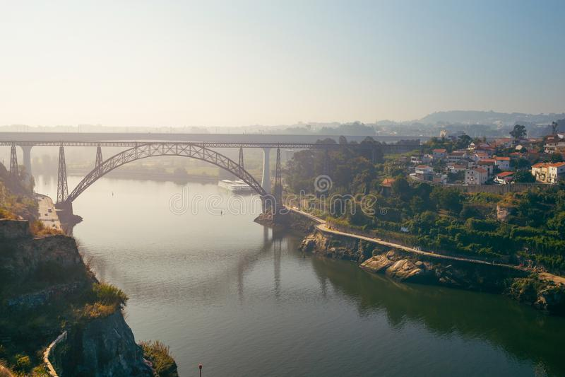 Porto, Portugal - August 2019: Ponte de D. Maria Pia. stock image