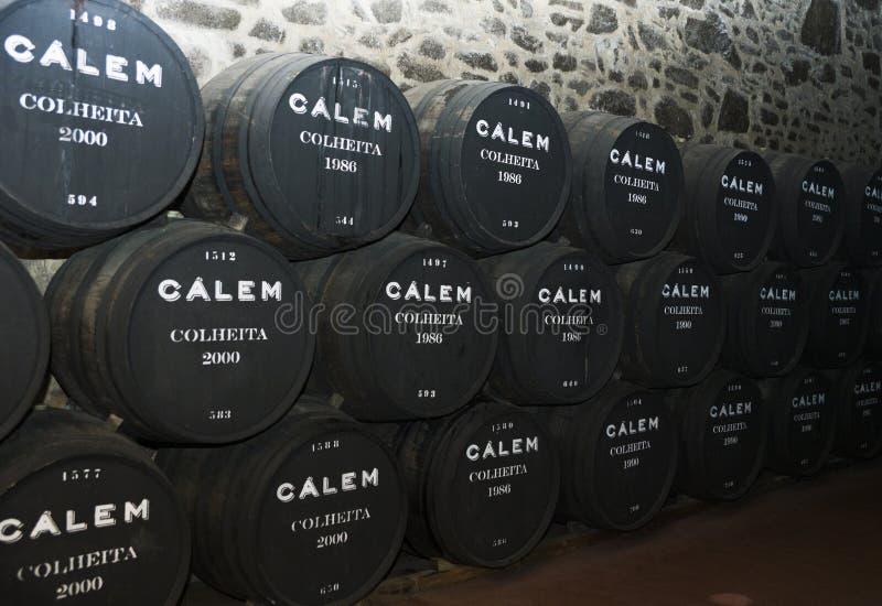Porto Portugal, Augusti 21,2018: numret av trummor av portvin i källarna av Calema Synligt på trummorna av att åldras vin royaltyfri foto