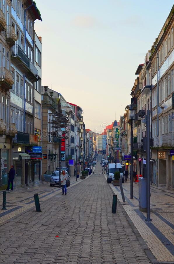 Porto, Portugal:  the city center on Santa Catarina Street royalty free stock images