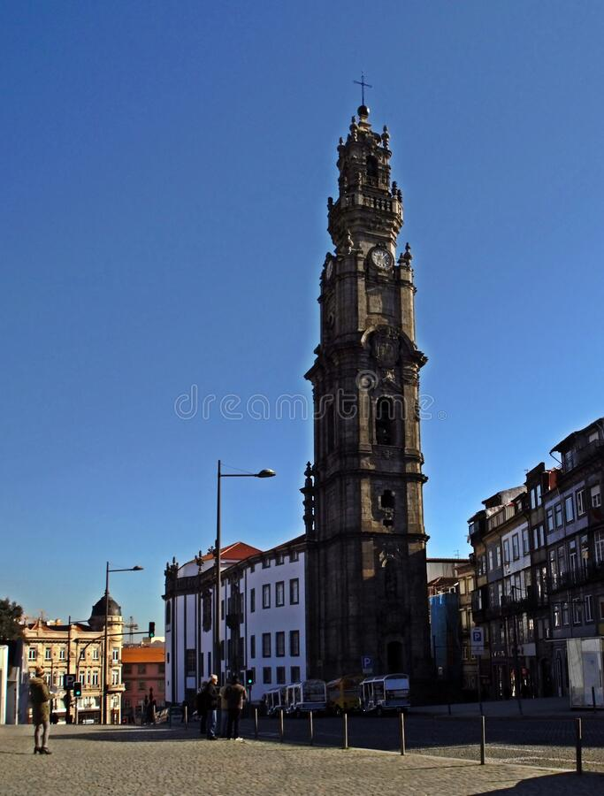The Torre dos Clérigos in the city of Porto, in Portugal. Porto/Portugal; 01/19/2017. The Clérigos Church is a Baroque church in the city of Porto. The stock photos