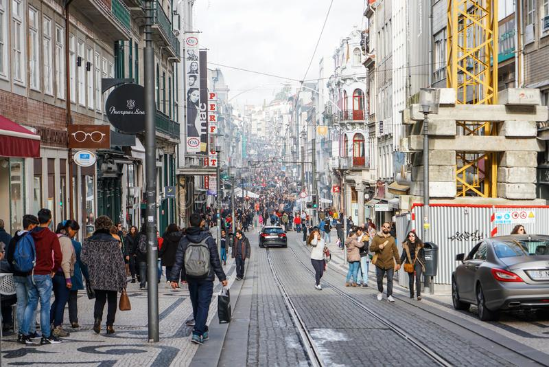 Porto, Portugal - December 2018: Rua de Santa Catarina, pedestrian-only street, full of people doing Christmas shopping stock photography