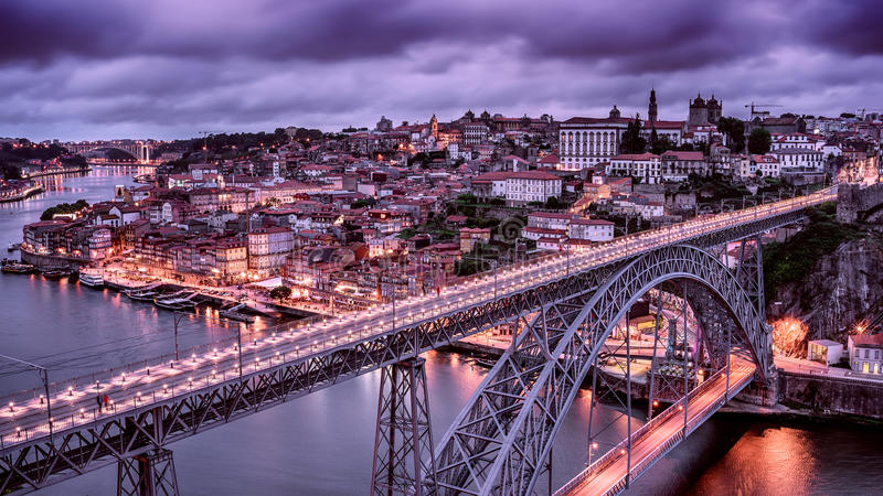 Porto, Portugal: the Dom Luis I Bridge and the old town. At night stock photos