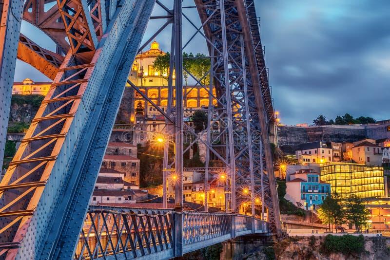 Porto, Portugal: Dom Luis que eu construo uma ponte sobre e o Serra faz Pilar Monastery no lado de Vila Nova de Gaia imagens de stock royalty free