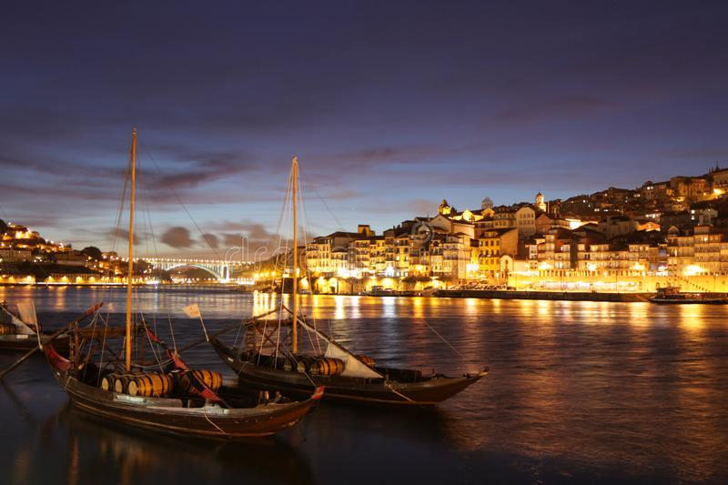 Porto Portugal. Ribeira and Douro river in Porto at sunset, Portugal royalty free stock image