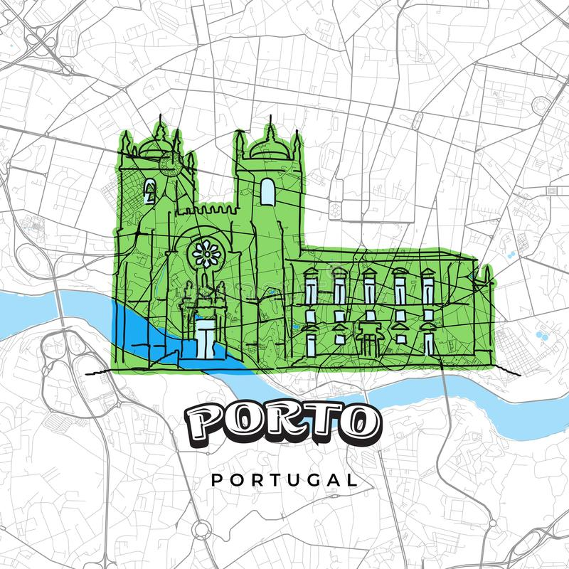 Porto Portugal drawing on map. Hand-drawn vector illustration. Famous travel destinations series royalty free illustration