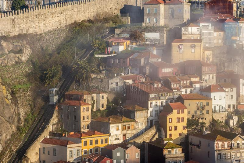 Guindais Funicular Funicular dos Guindais in the old town of Porto on the river bank of Douro, Portugal stock images