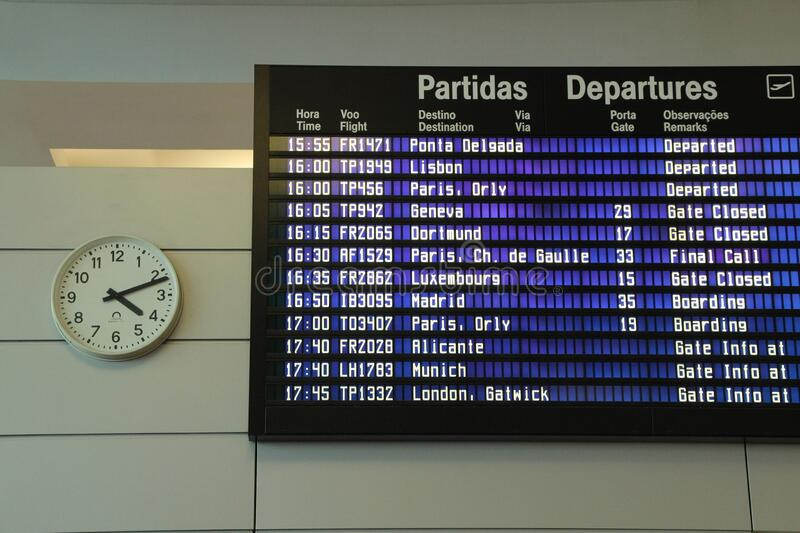 Information panel for departures and arrivals at the airport stock images