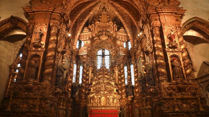 PORTO, PORTUGAL - JANUARY 31, 2019: interior of gothic church of Saint Francis Igreja de Sao Francisco in Porto, Portugal stock images