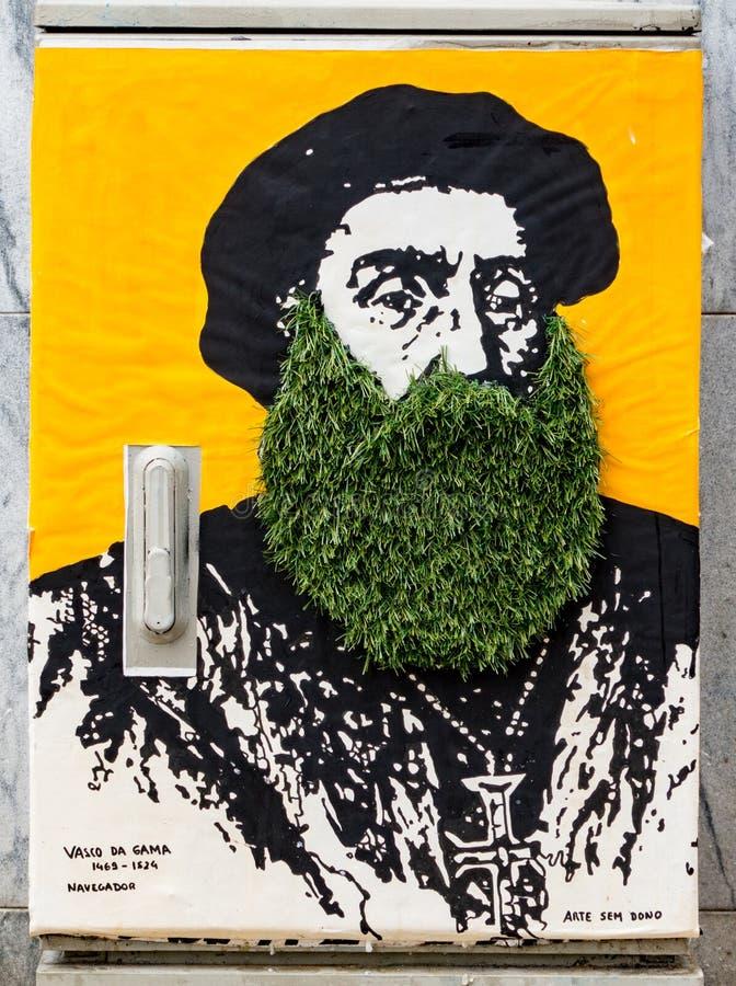 Porto, Portugal/le 21 juin 2017 - peinture de mur avec l'herbe vivante image libre de droits
