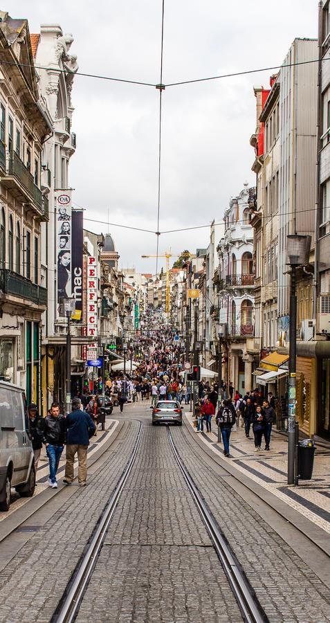 Santa Catarina commercial street old town, Portugal stock photo