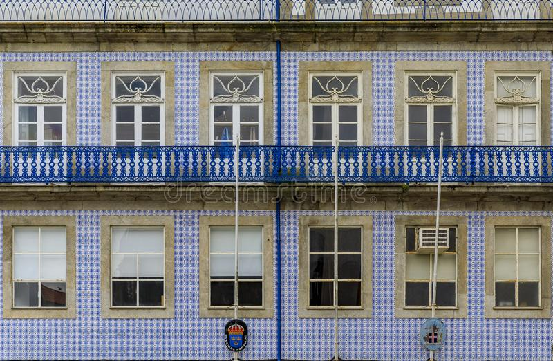 Facade of the Swedish Consulate decorated with traditional ornate Portuguese azulejo tiles in Porto, Portugal stock image