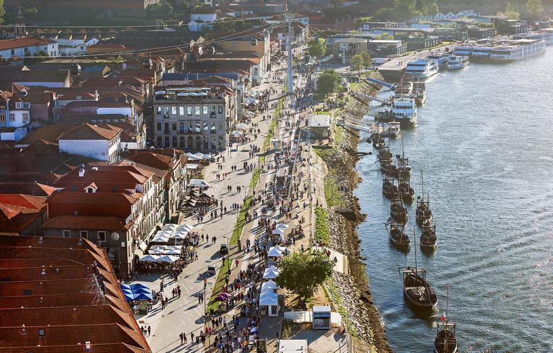 Porto, Portugal – May 1, 2019: Picturesque panoramic view of famous ancient town Porto. Vila Nova de Gaia - vine district. stock photography