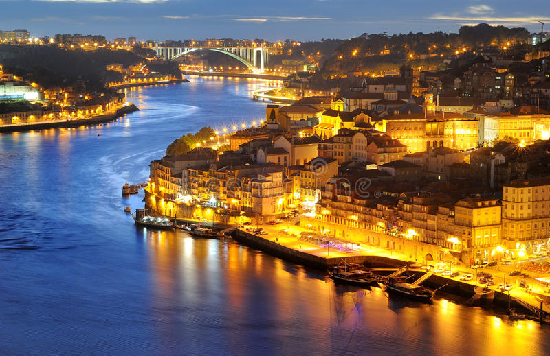 Porto, Portugal at night. Porto: panorama of Ribeira and Douro river royalty free stock photos