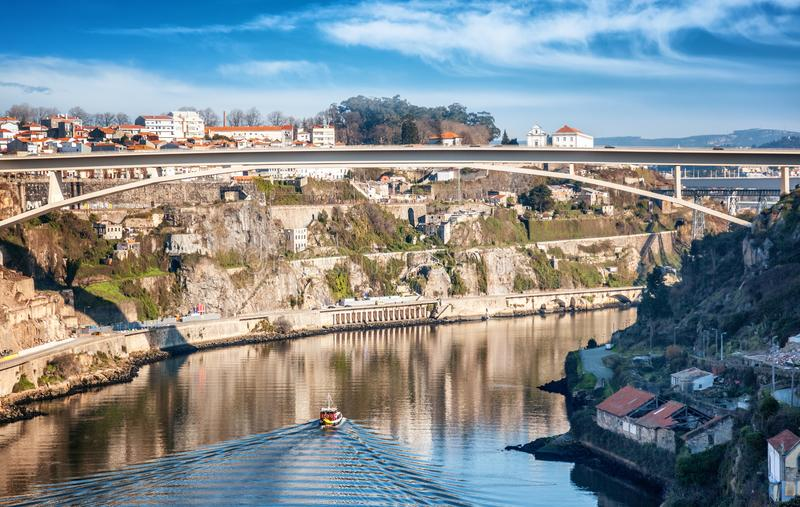 Porto, Portugal old town skyline from across the Douro River. City scape stock photos