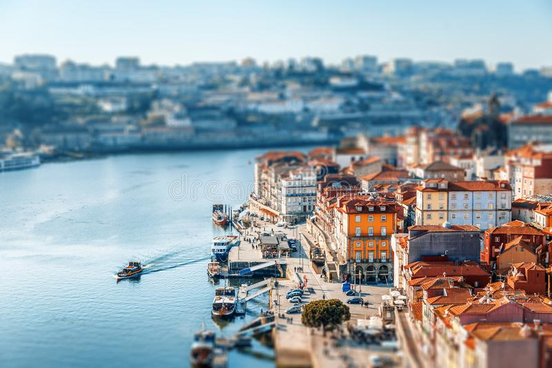 Porto, Portugal old town skyline at sunset, beautiful cityscape, image with tilt shift effect, retro toning stock images