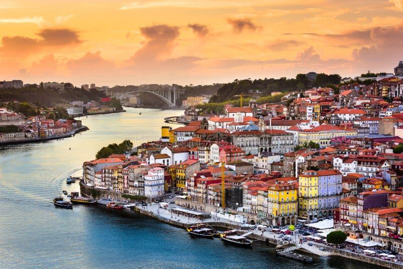 Porto, Portugal op de Rivier stock foto's