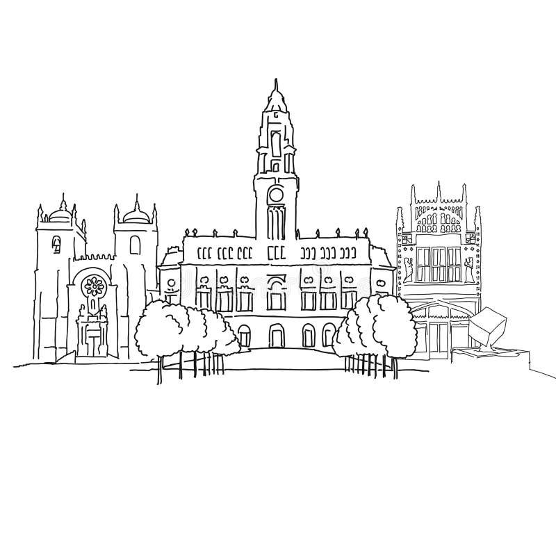 Porto Portugal outline sketch. Hand-drawn vector illustration. Famous travel destinations series stock illustration