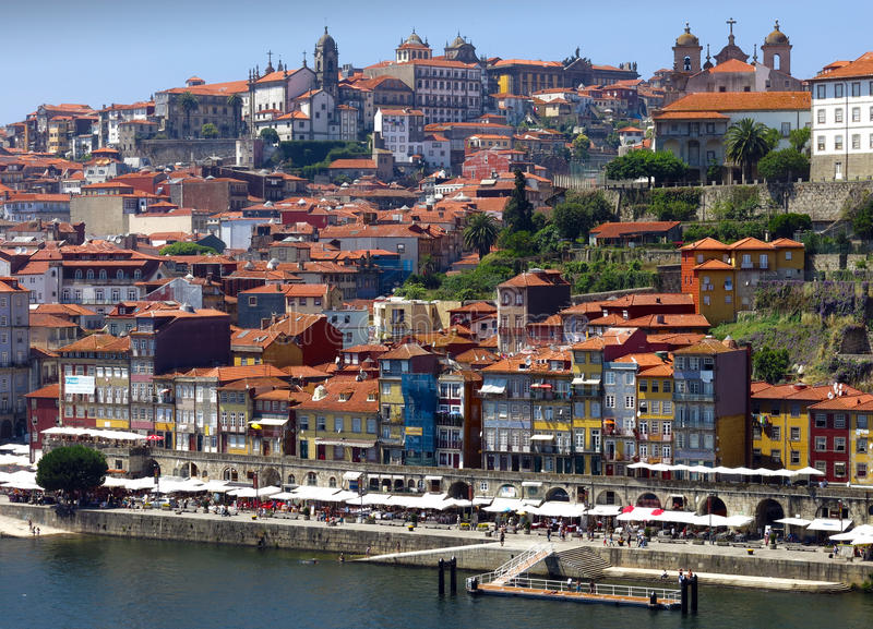 Porto - Portugal. Overview of the city of Porto and the Douro River by a hot summer day in Portugal stock photos