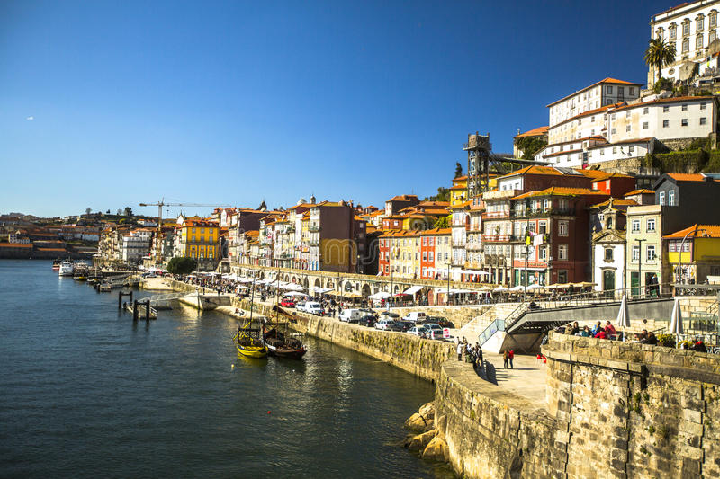 PORTO, PORTUGAL - Ribeira, traditional boats at Douro river in Old Town. royalty free stock photography