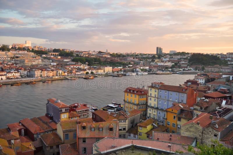 Porto. Portugal. river. beautiful buildings. charming sky royalty free stock image