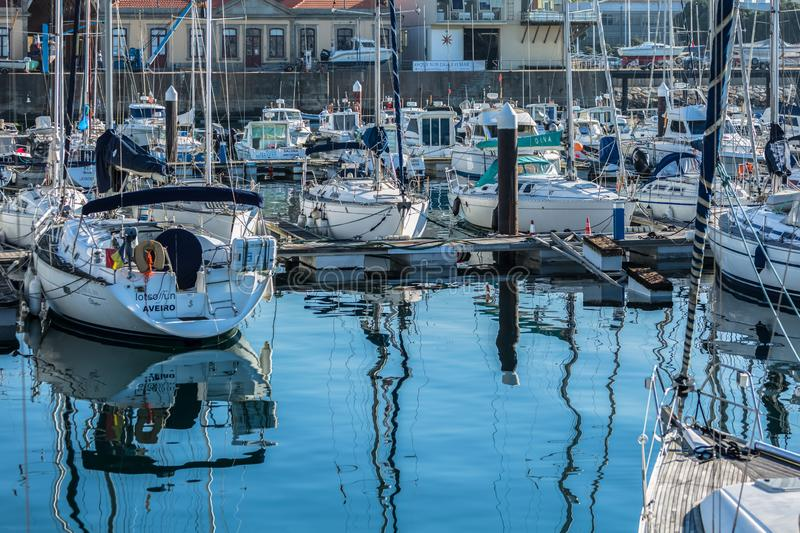 View of recreational and private boats in Leca da Palmeira marina stock photo