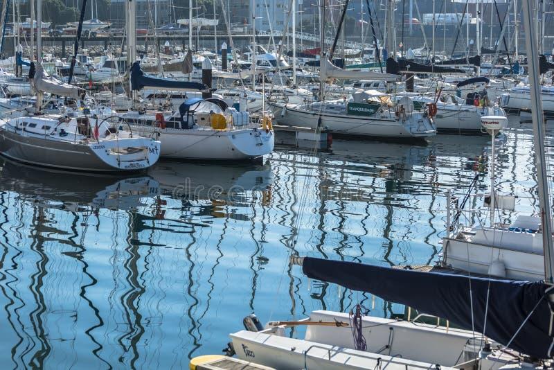 View of recreational and private boats in Leca da Palmeira marina stock photos