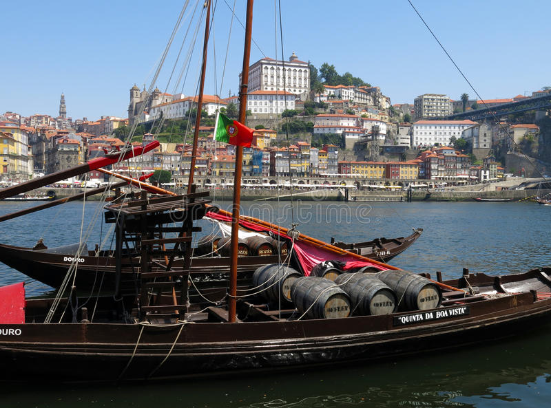 Porto - Portugal. Wine boats with the city of Porto in the background stock photo