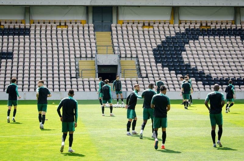 PORTO, PORTUGLAL - 9 juin 2019 : Le stage de formation d'équipe nationale du Portugal chez Estadio font Bessa XXI devant la ligue image libre de droits