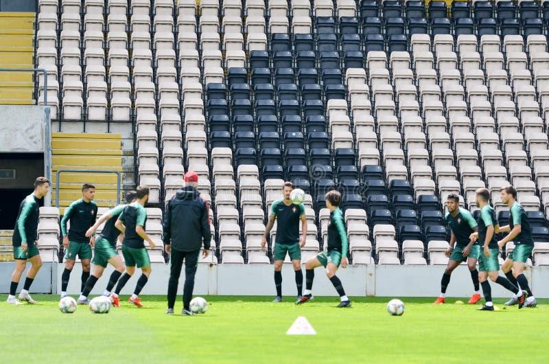 PORTO, PORTUGLAL - 9 juin 2019 : Le stage de formation d'équipe nationale du Portugal chez Estadio font Bessa XXI devant la ligue photo stock