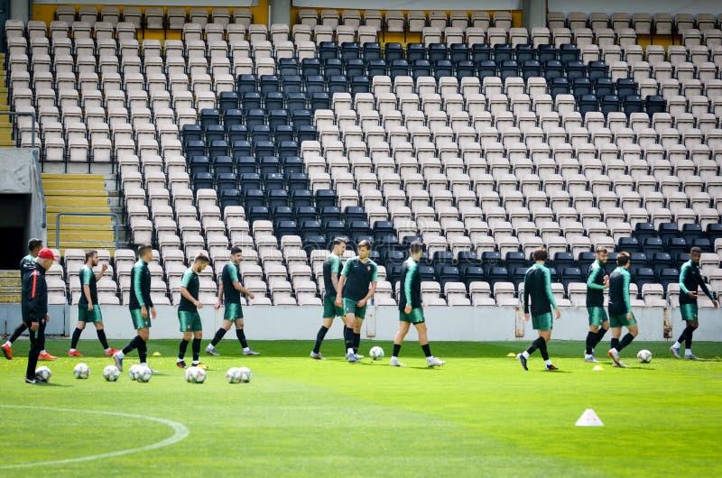 PORTO, PORTUGLAL - 9 juin 2019 : Le stage de formation d'équipe nationale du Portugal chez Estadio font Bessa XXI devant la ligue photo libre de droits