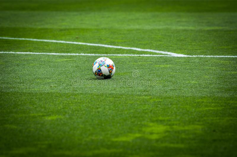 PORTO, PORTUGLAL - June 09, 2019: UEFA Nations League official football ball slose up  during the semi Finals match between. National team Portugal and stock photography