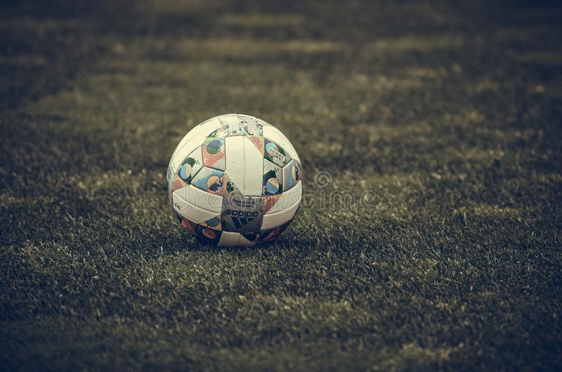 PORTO, PORTUGLAL - June 09, 2019: UEFA Nations League official football ball slose up  during the semi Finals match between. National team Portugal and royalty free stock photography