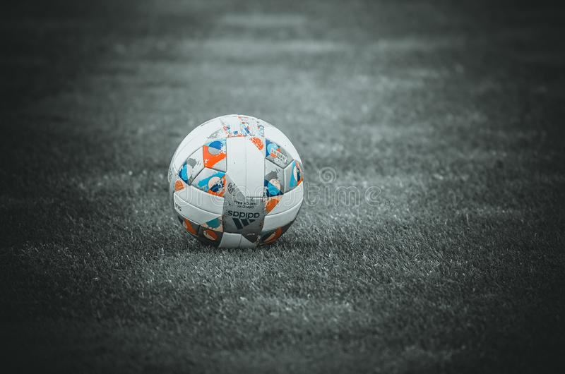 PORTO, PORTUGLAL - June 09, 2019: UEFA Nations League official football ball slose up  during the semi Finals match between. National team Portugal and stock image