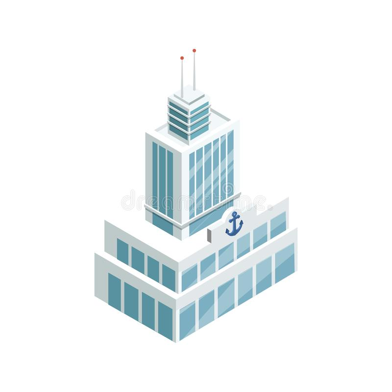 Porto que constrói o elemento 3D isométrico ilustração do vetor