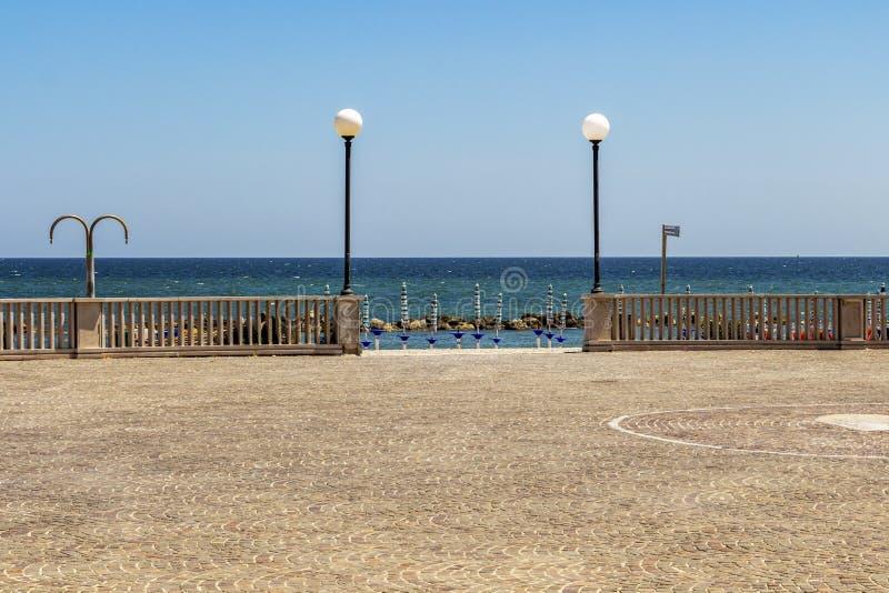 Porto Recanati, het strandmening van Italië royalty-vrije stock afbeelding