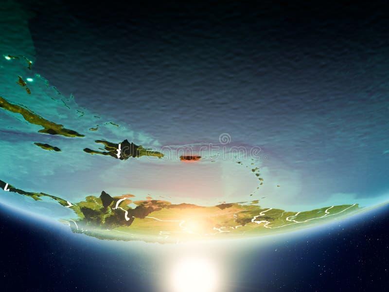 Porto Rico com o sol na terra do planeta ilustração stock