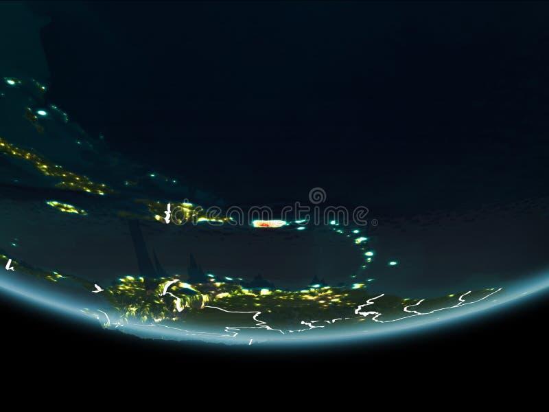 Porto Rico na terra do espaço na noite ilustração royalty free