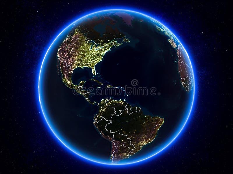 Porto Rico na terra do espaço na noite ilustração do vetor