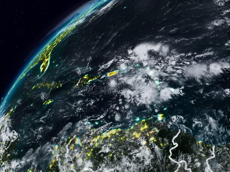 Porto Rico na terra do planeta na noite ilustração stock