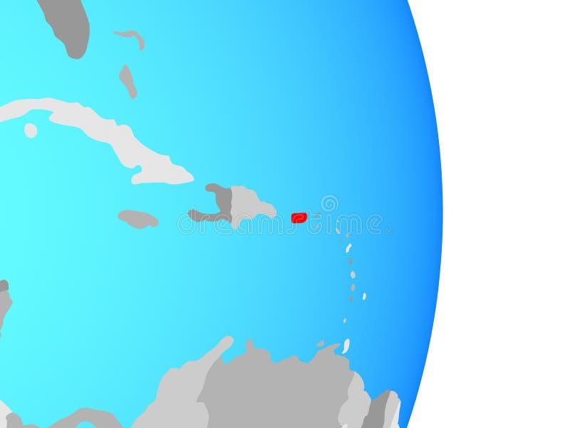 Porto Rico no globo ilustração do vetor