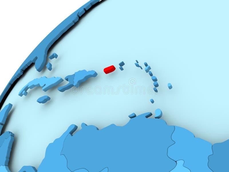 Porto Rico no globo azul ilustração do vetor