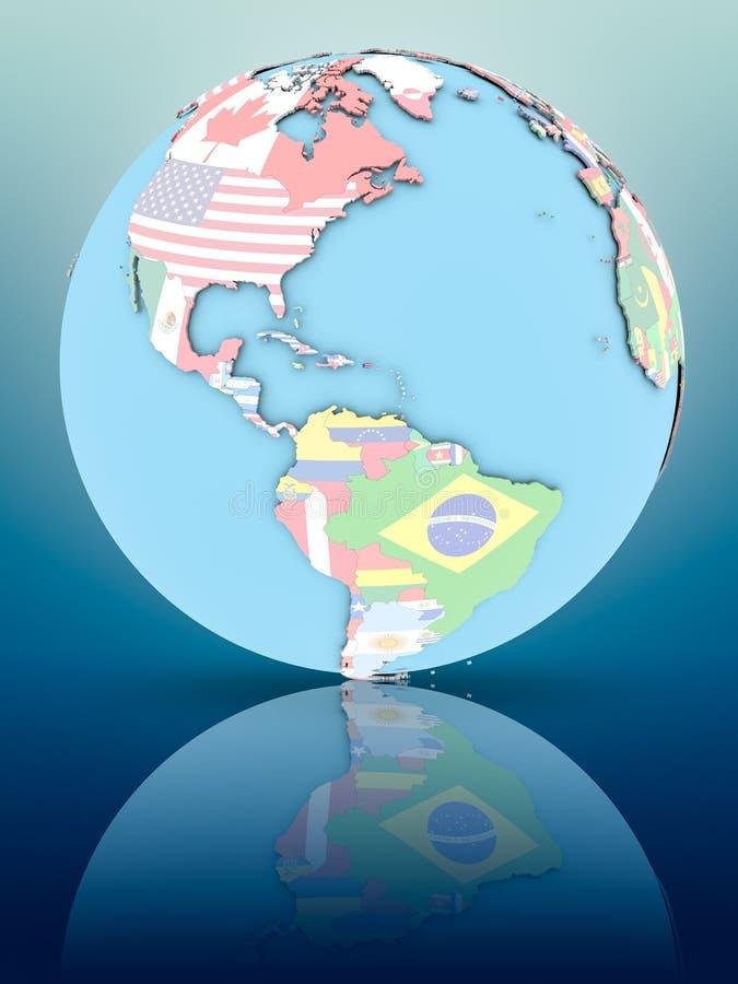 Porto Rico no globo político com bandeiras ilustração stock