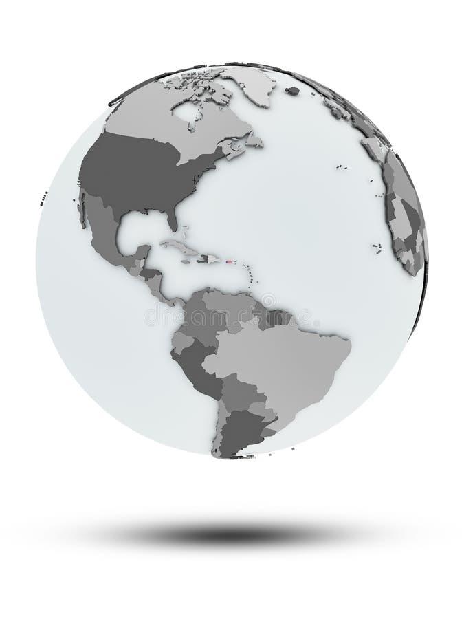 Porto Rico no globo político isolado ilustração royalty free