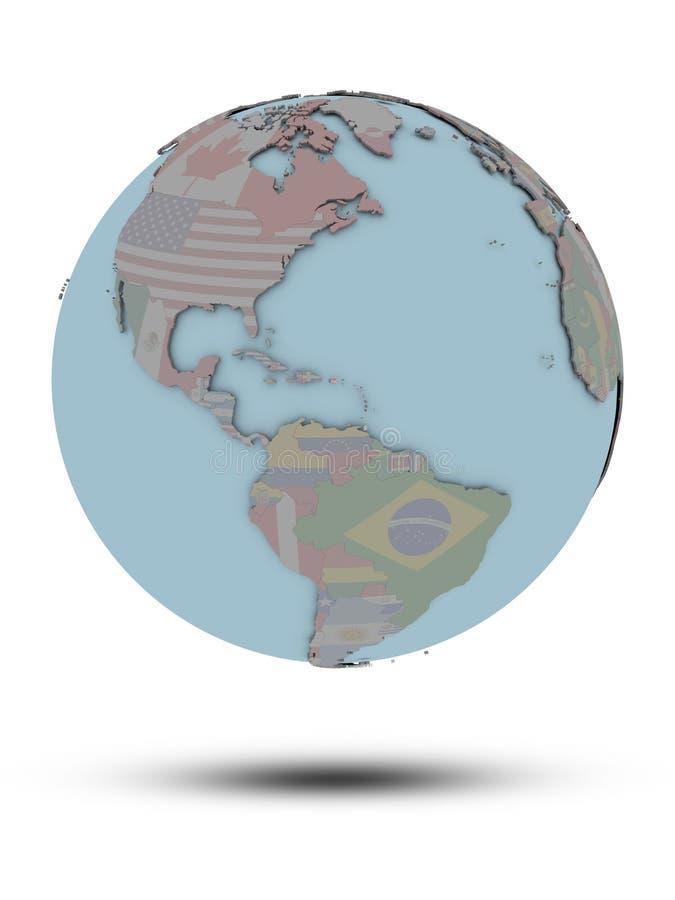 Porto Rico no globo político isolado ilustração do vetor