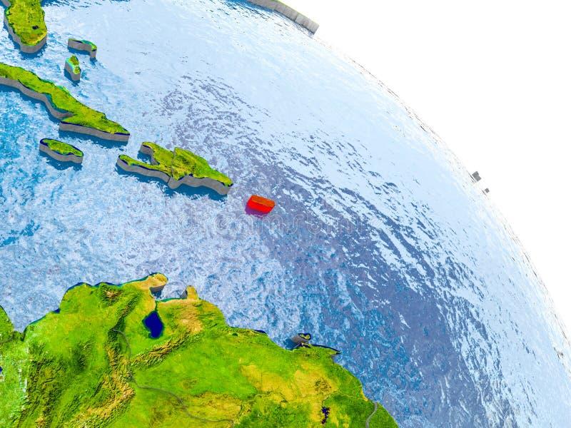 Porto Rico no modelo vermelho da terra ilustração royalty free