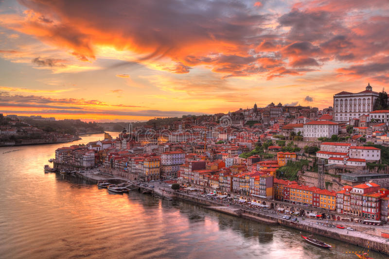 Porto at river Duoro, sunset royalty free stock photo