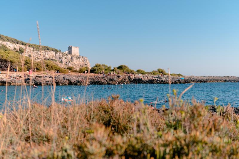 Porto Selvaggio 13 August 2019: a tipical Salento gulf during an awesome summer day royalty free stock image