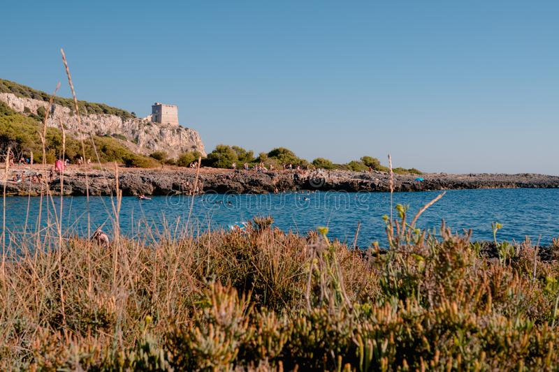Porto Selvaggio, Italy 13 August 2019: an awesome tiny gulf in Salento during the summer royalty free stock photography