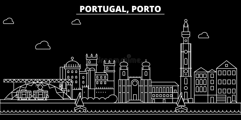 Porto silhouethorizon De vectorstad van Portugal - Porto, Portugese lineaire architectuur, gebouwen Porto reis stock illustratie