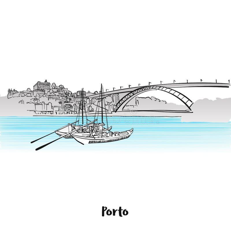 Porto-Skyline-Gruß-Karten-Design lizenzfreie abbildung